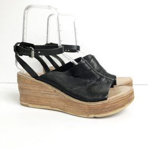 A.S.98 Shoes - A.S. 98 Niall Black Leather Wedge Sandals 41